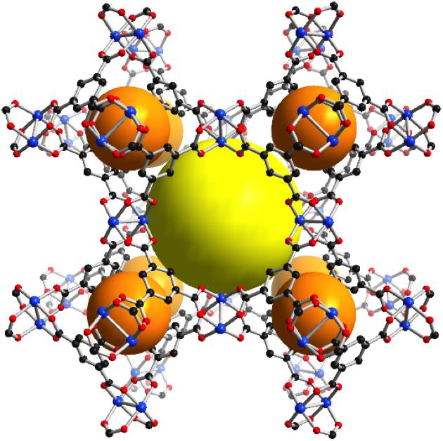 3D structure of a MOF, metal-organic framework